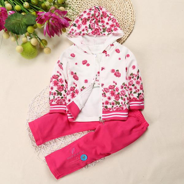 Baby 3 Piece floral hoodie with long sleeve-T-Shirt and Trousers