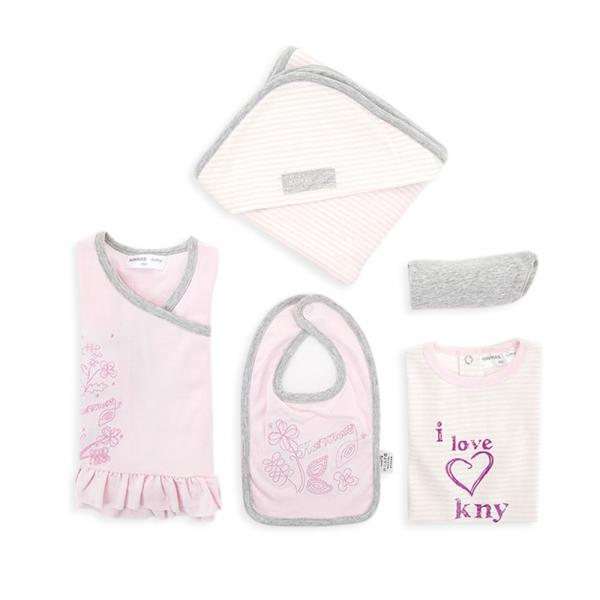 Baby 4 pcs Set with Leggings Romper vest Beautiful Pink Long sleeve top and matching bib