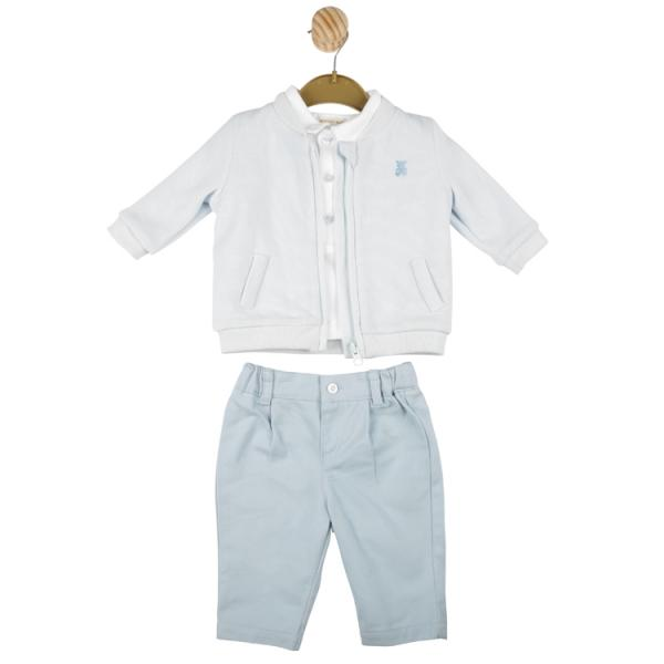 MINTINI BABY - Boys baby blue and white 3 PC set with teddy design