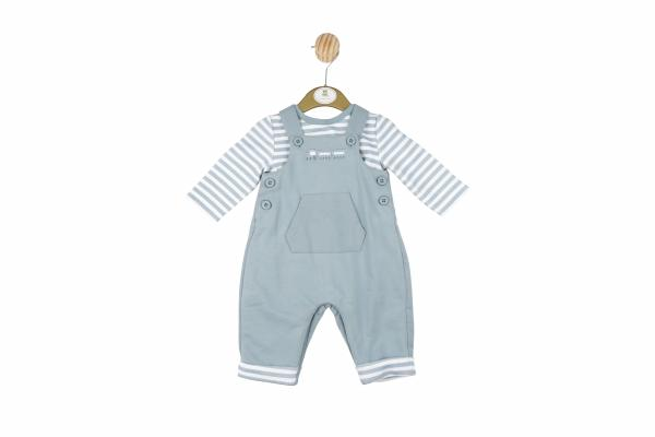 MINTINI BABY - Baby boy blue and white striped dungarees