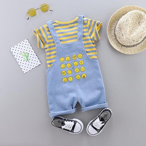 Baby Denim dungarees Style set with Stripe T-Shirt