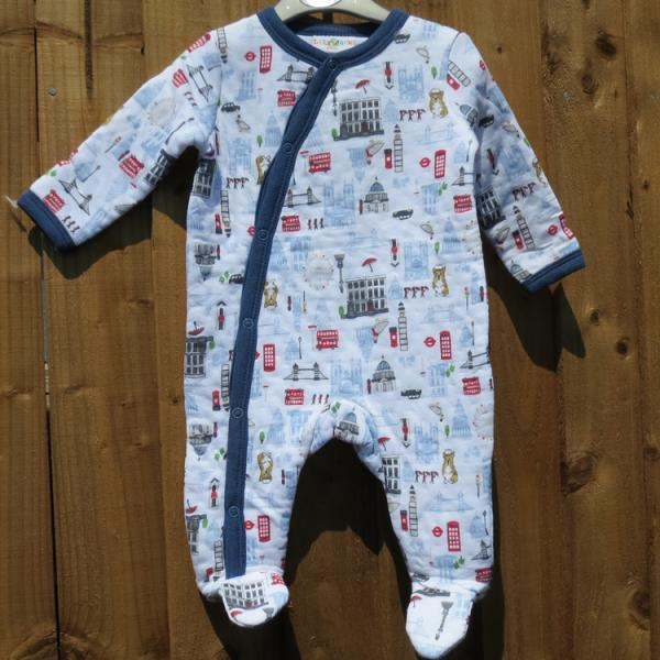 Baby Boys London Design Quilted Sleepsuit