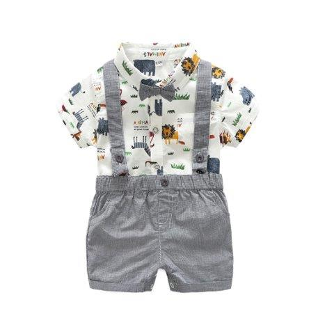 Baby Boys Shorts and Safari Design Shirt set with Braces & Bow-Tie