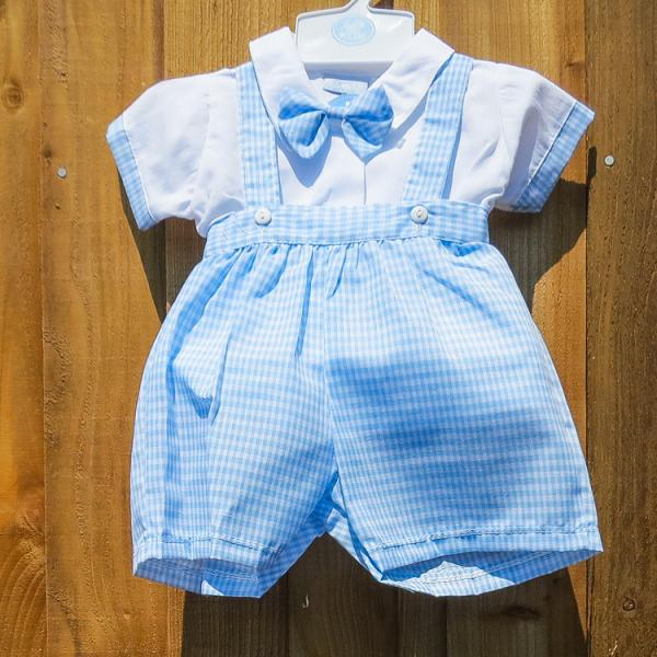 Baby Boys Spanish Style Checked Design Dungarees Set