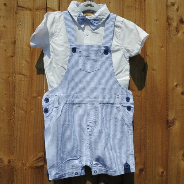 Baby Boys Summer Stripped Dungarees Set