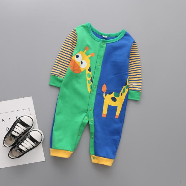 Baby boy-girl beautiful bright colored rompers- sleep suit with cute stylish animal detail, happy bright colored clothing