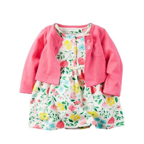 Baby Girl Cotton dress 3 pcs set knitted cardigan with attached pants