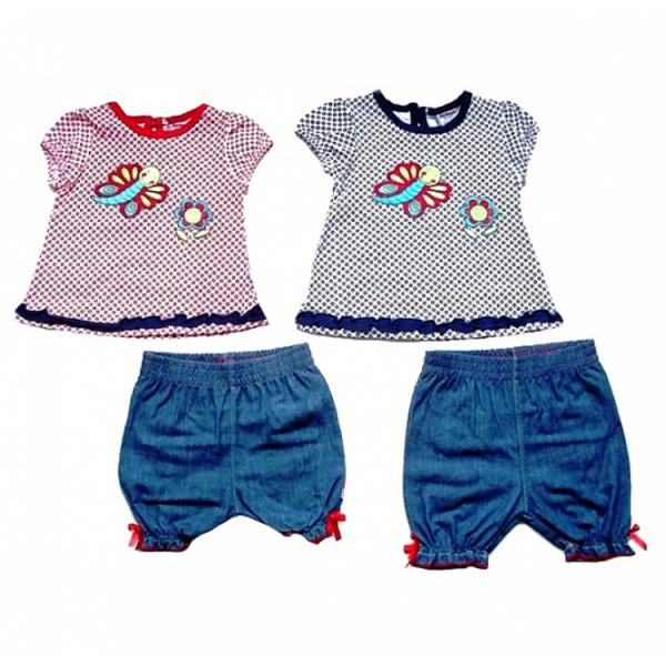 Baby Girls Cotton Top and Denim Shorts - Butterfly and Flower Embroidery