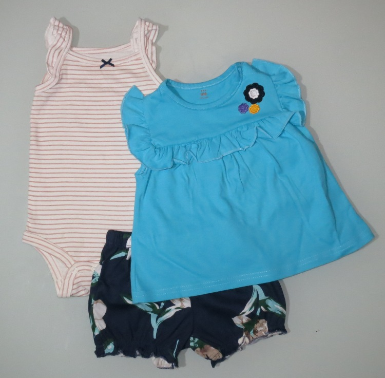 Baby Girl Romper Set with Dress and Shorts