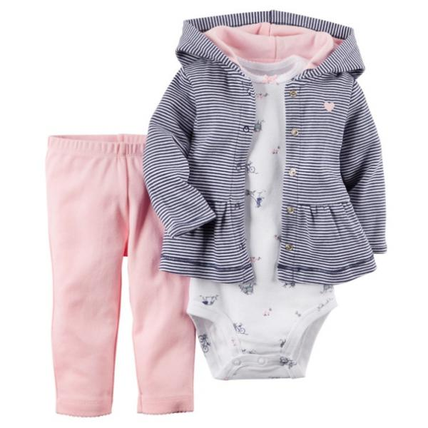 Baby Girls Hooded Jacket with Romper and matching leggings