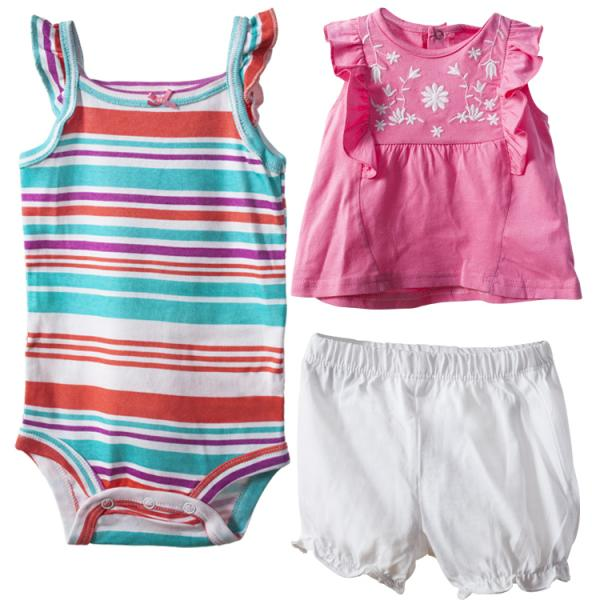 Baby girls Pink Dress with Striped Romper and Shorts Set