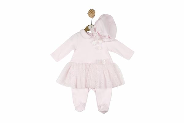 MINTINI BABY - Pink all-in-one suit with Pink& Diamante tutu style attached skirt and pink matching hat