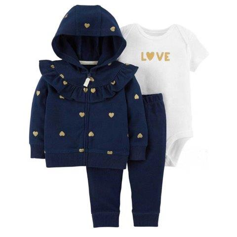 Baby Girls 3 piece Romper Set with trousers and hooded Jacket