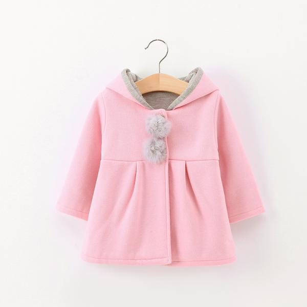 Baby Girls Beautiful Pink Coat with Grey Pom Pom detail with rabbit ear design