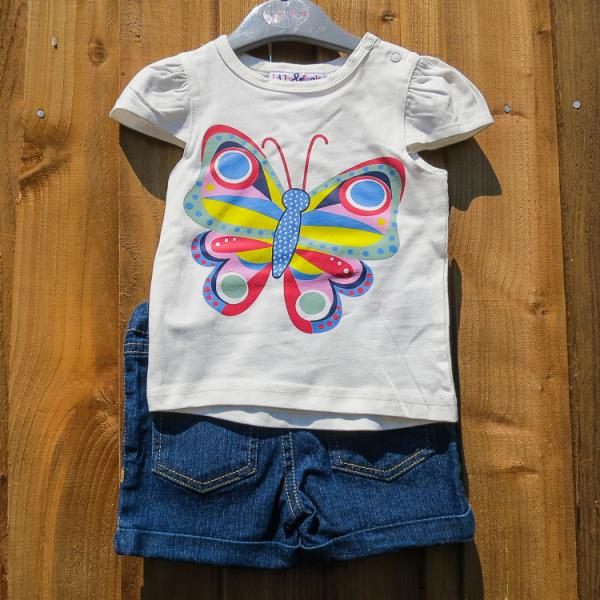Baby Girls Denim Shorts and Butterfly T-Shirt Set