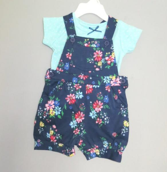 Baby Girls Dungaree and T-shirt vest Set