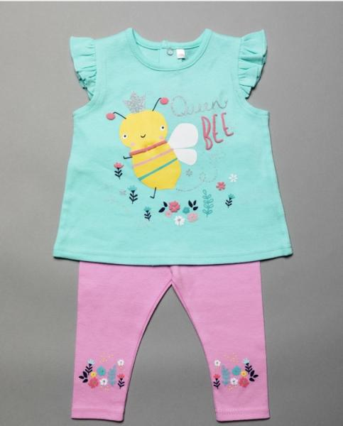 Baby Girls Queen Bee and flowers Leggings and Top Set