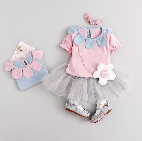 Girls Dress with Scalloped Collar