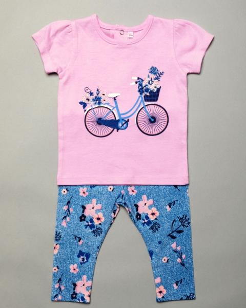 Baby Girls Top & Leggings Set with Pretty Bicycle & pretty flower Detail