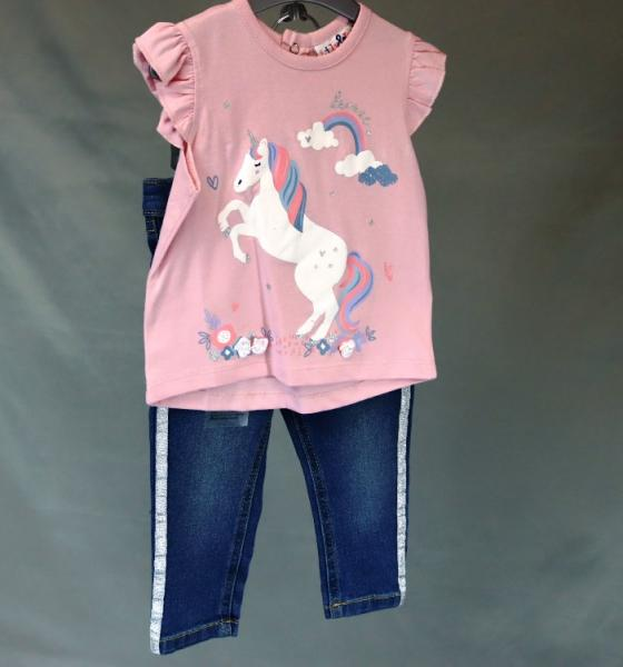 Baby Girls Unicorn and Rainbow Design T-Shirt and Jeans Set