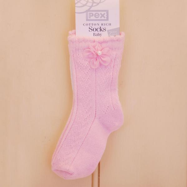 PEX- Baby Party Flower - Gorgeous Socks - Pack of 2 - Pink and White