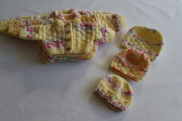 Baby Hand Knitted Cardigan & Hat Set