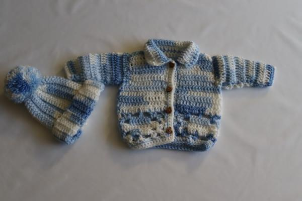 Baby Hand Knitted Cardigan and Hat Set