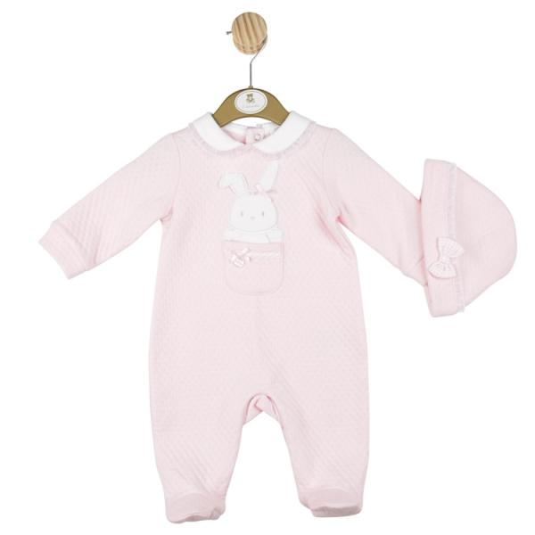 MINTINI BABY Pink all in one suit with teddy pocket detail and matching hat