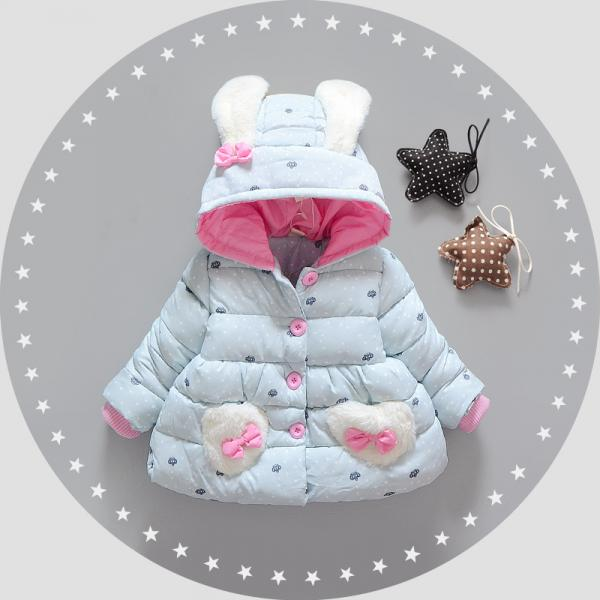 Beautiful Baby Cotton padded jacket with bunny ears