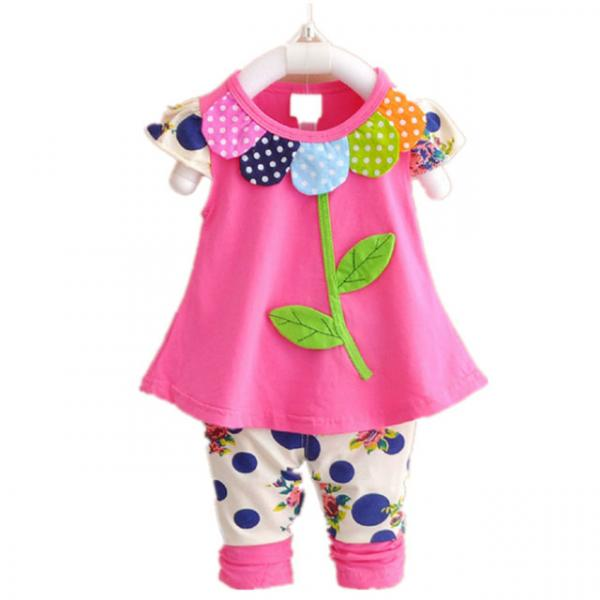 Baby Spanish Style Bright colored dress with leggings set