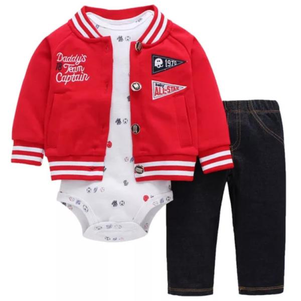 Boys 3 piece jacket, romper and jeans