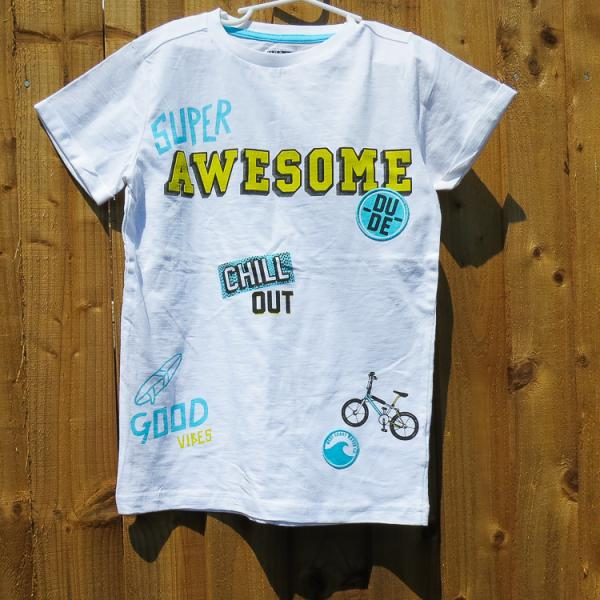 Boys Summer T-Shirt with Awesome Dude Design