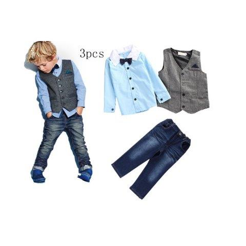 Boys Fashion Jeans, with Shirt Bow-Tie and waistcoat set