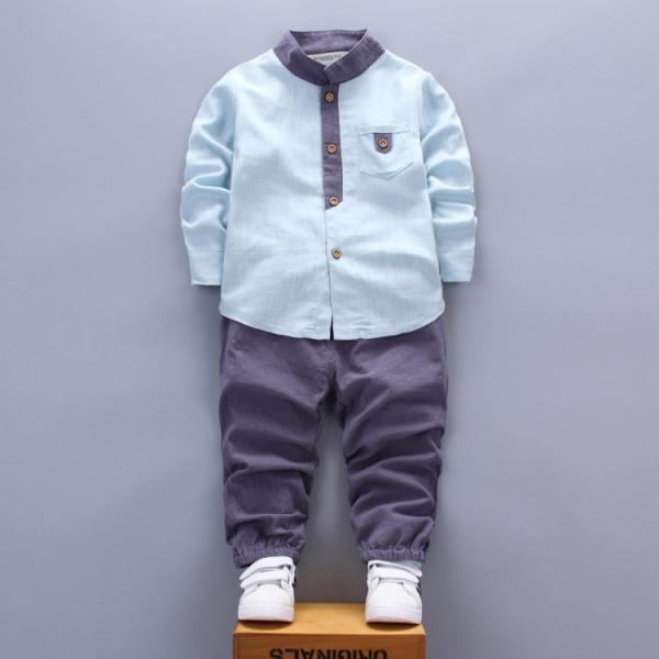 Baby Boys 2pc Casual Look Suit with Mandarin Collar Shirt and Trousers