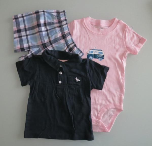 Baby Boys Romper Set with Check Shorts & Polo Shirt