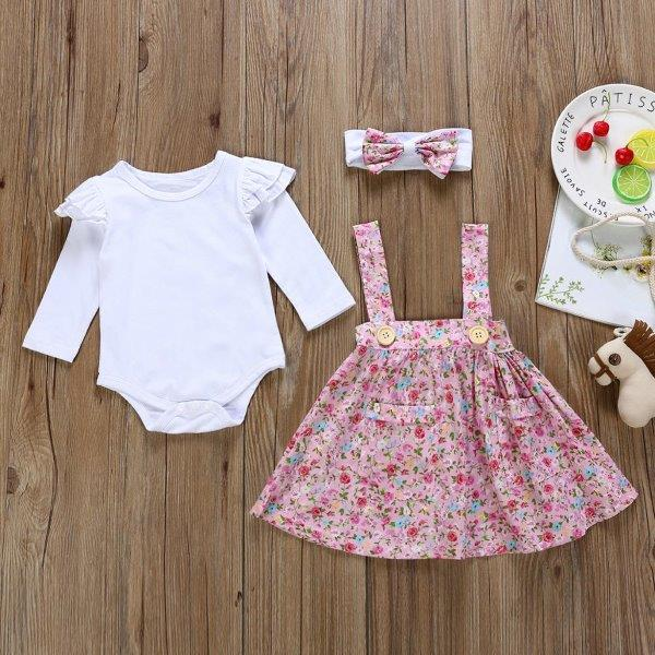 Baby Romper Set with Floral Pinafore