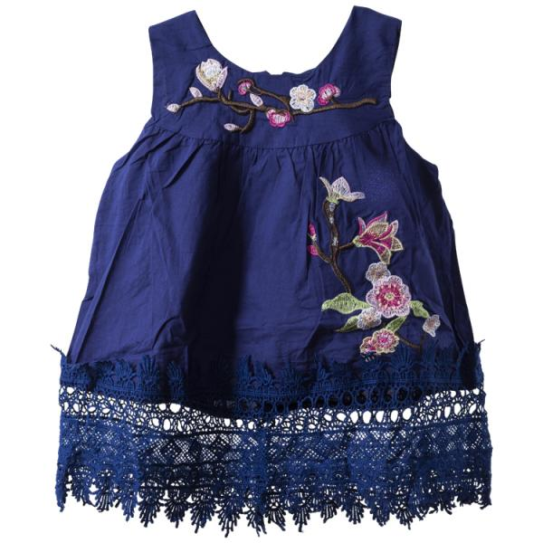 Baby Girls White sleeveless embroidered dress with lace detail