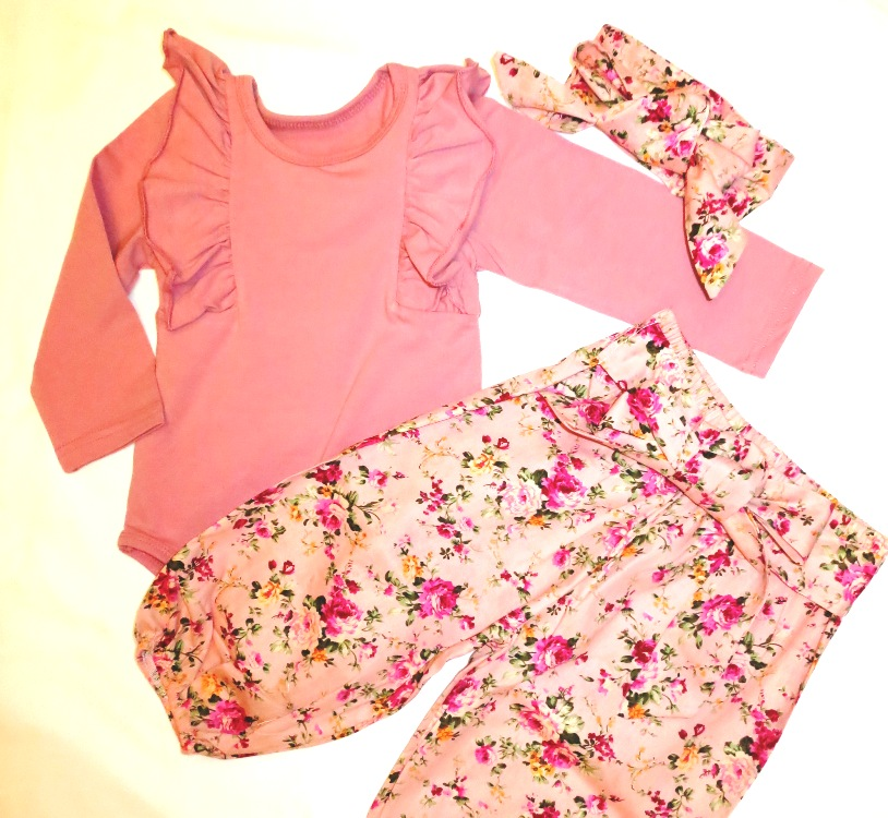 Baby Ruffle bodysuit with Matching Trousers and Headband