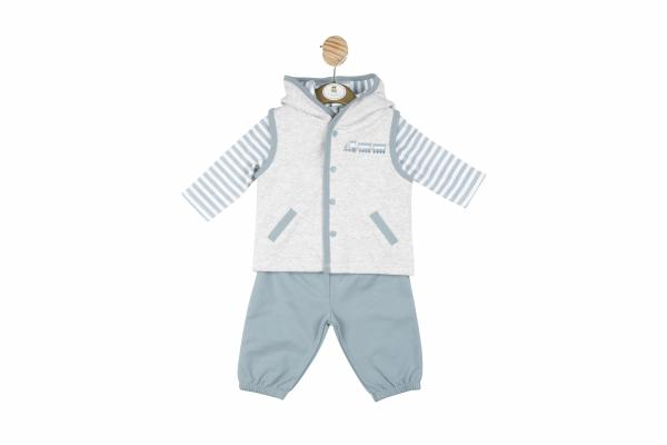 MINTINI BABY - Boys blue/grey 3 PC suit with trousers, long sleeved stripy top with gilet with embroidered train detail