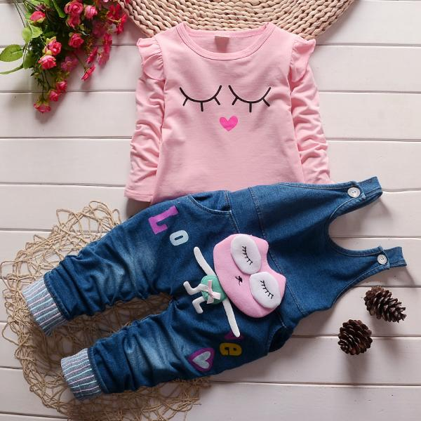 Baby Girls Denim Dungarees and Pink top