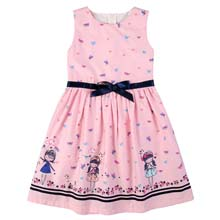Girls Beautiful Pink Dress with Print Detail and Navy Ribbon