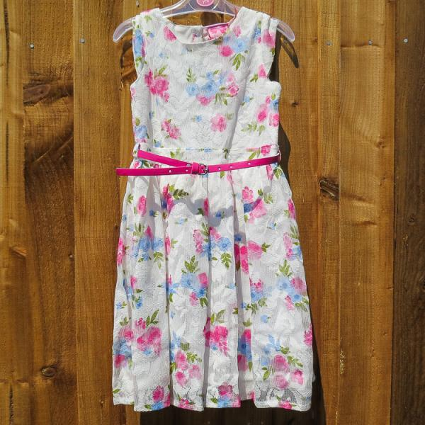 Girls Pink Floral Lace dress