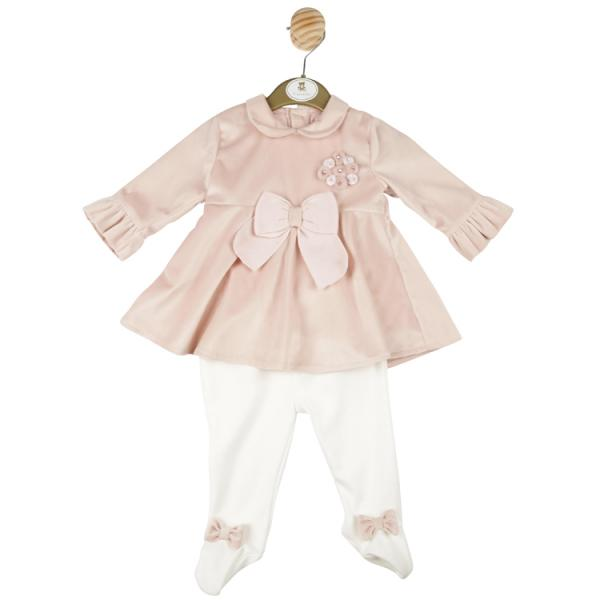 MINTINI BABY - Girls Rose Gold velour style dress with bow detail and rose gold, pearl and diamante coloured stone design with white leggings with bow design