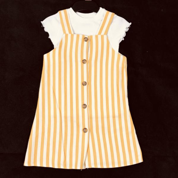 Girls yellow and white striped dress with buttons and white T-shirt