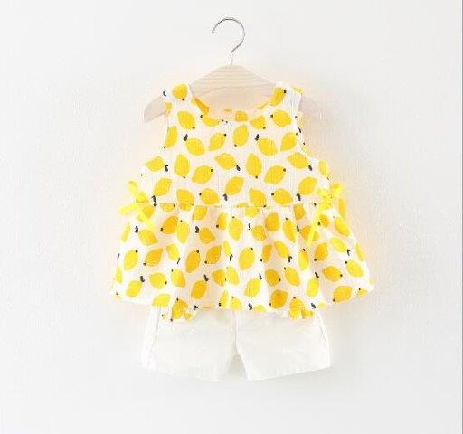 Girls Yellow Summer Cotton Dress with Shorts