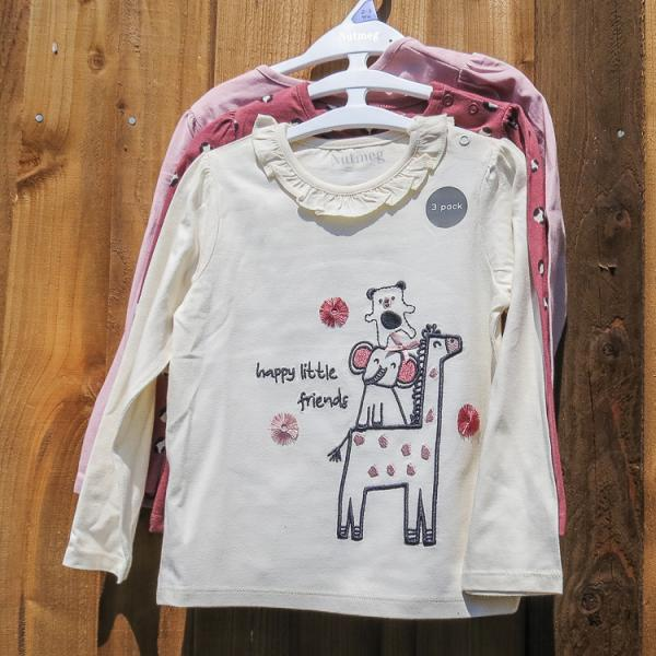 Happy Little friends girls long sleeved top - pack of 3