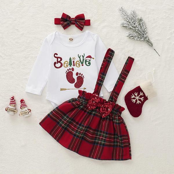 Hot Selling Baby Christmas Style Pinafore