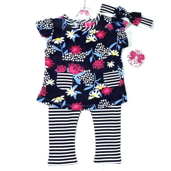 Baby Girls Floral Top Leggings and headband set