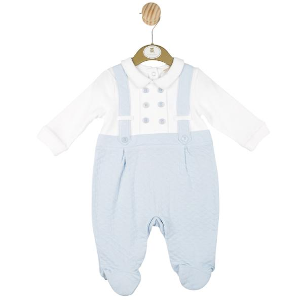 Mintini Baby Boys all in one Romper with white collar and buttoned braces.
