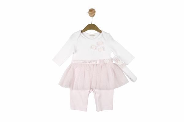 MINTINI BABY - Pink all in one set with white bodice and flower detail, pink & diamante tutu style skirt and matching headband
